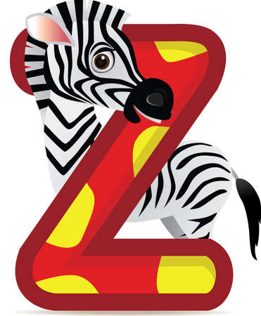 Alphabet Z with Zebra cartoon