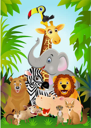 jungle cartoon: Dibujos animados animales Vectores