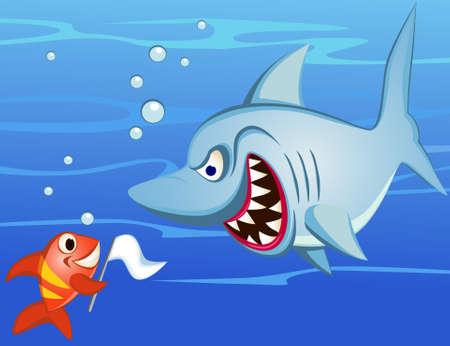 Shark and tiny ish make peace Vector