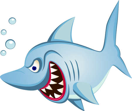 fear illustration: Shark cartoon character