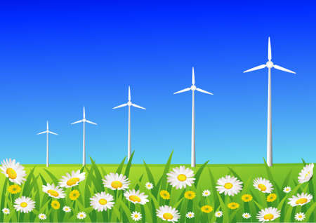 windpower: wind turbine Illustration