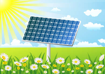 solar cell on the grass field Vector