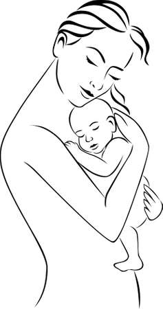 mom son: Mother and baby Illustration