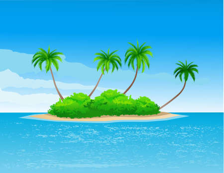 horizon over water: Tropical island