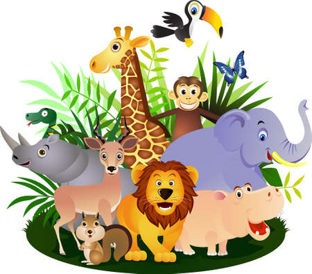 animales de la selva: Caricatura de safari animal