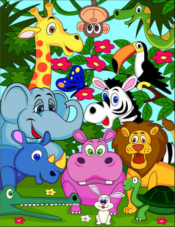 illustration zoo: Animal safari cartoon Illustration