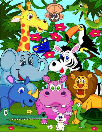 illustration zoo: Cartoon Animal safari