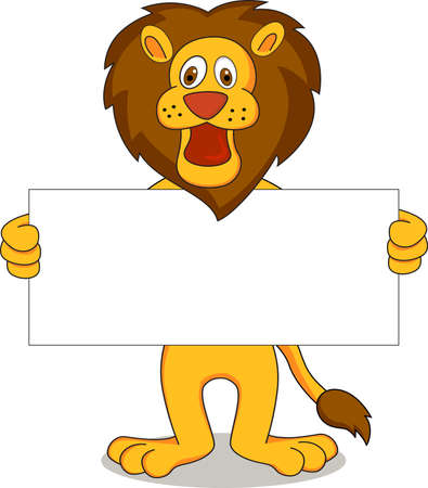 placards: Lion and white banner