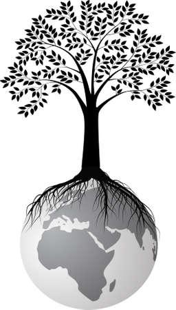 arbol geneal�gico: silueta de �rbol en la tierra Vectores