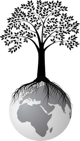 dead tree: tree silhouette on earth Illustration