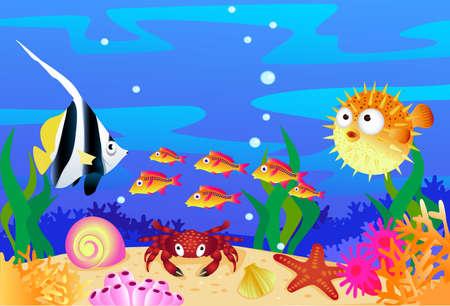 stella marina: Sealife sfondo Vettoriali