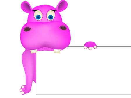 Cute hippo and blank sign Vector