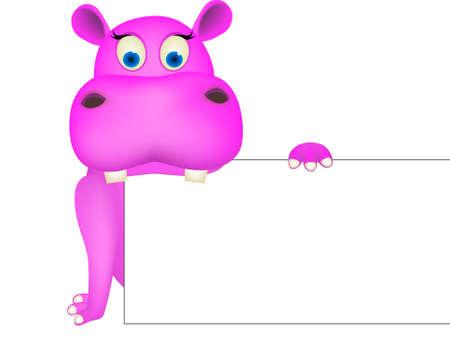 cartoon hippo: Cute hippo and blank sign Illustration