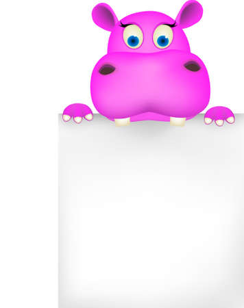 hippo: Cute hippo and blank sign Illustration