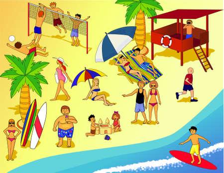 chica surf: personas en la playa
