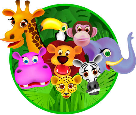 jungle cartoon: Cart�n animal Vectores