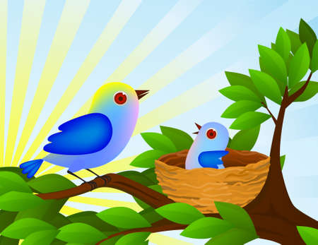 bird and baby in the nest Vector