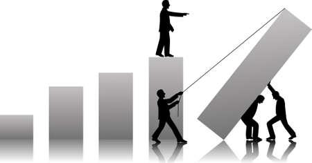financial success: TeamWorks zu Erfolg im Gesch�ft Illustration