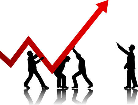 grafico vendite: TeamWorks fare successo nel business Vettoriali