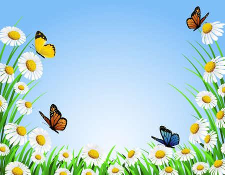 cartoon butterfly: Fondo de naturaleza Vectores