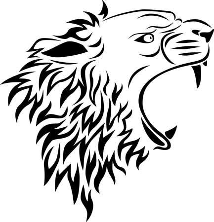 lion head tattoo Vector