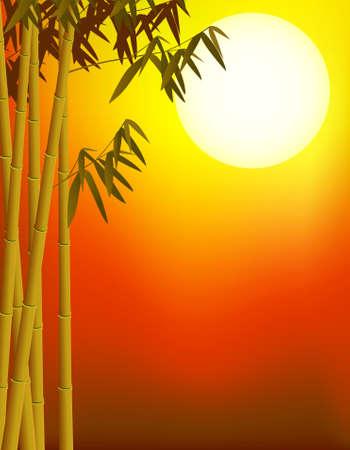 작은 숲: 대나무 배경 일러스트