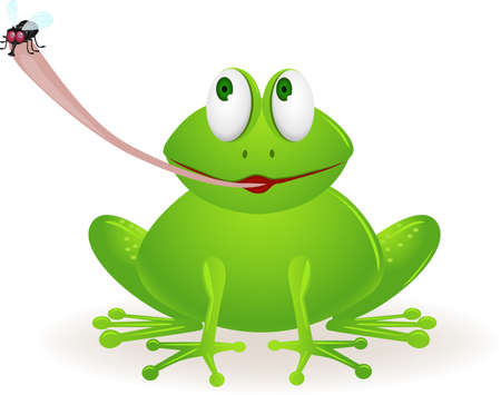 one eye: Frog cartoon catch fly