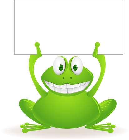 animal teeth: Frog cartoon and blank sign