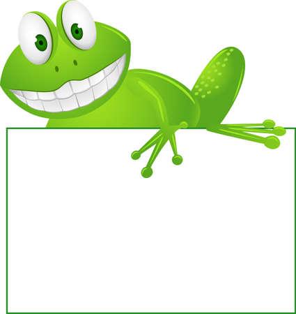 smiling frog: Caricatura de rana y signo en blanco