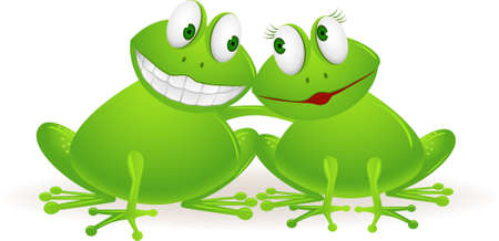 Frog couple cartoon Vector