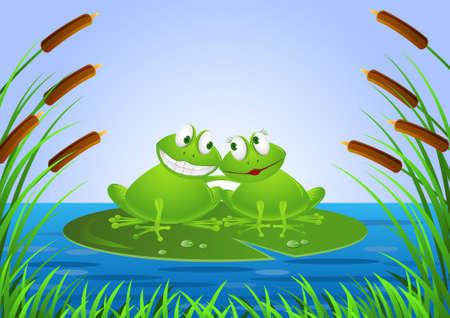 frog in love: Frog couple cartoon