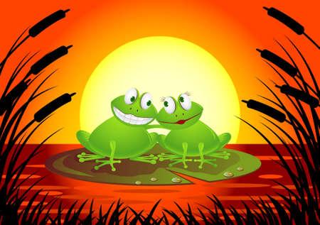 lake sunset: Frog couple cartoon