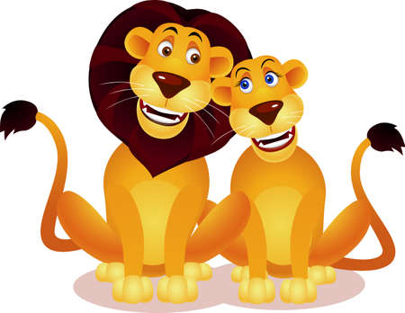 large group of animals: Lion couple