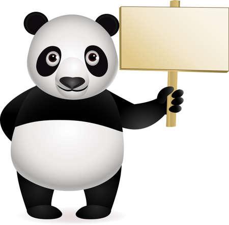 oso panda: Caricatura de Panda y signo en blanco
