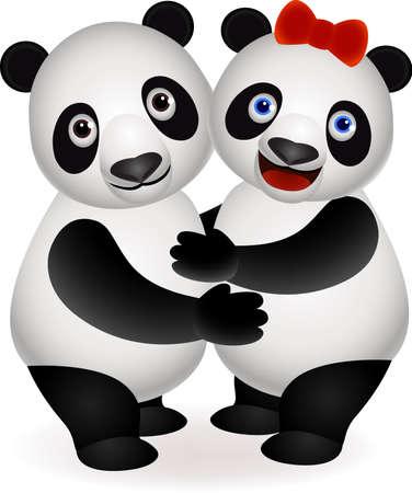 Panda couple Vector