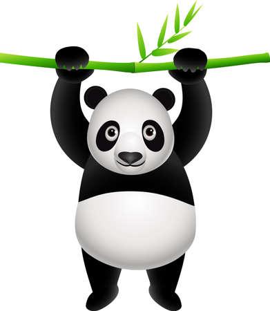 Panda cartoon hanging on bamboo Vector