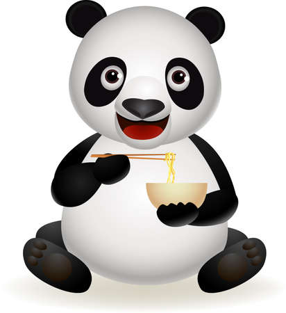 Panda eating noodle Vector