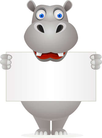 Hippo cartoon and blank sign