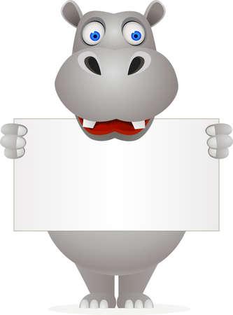 hippo: Hippo cartoon and blank sign