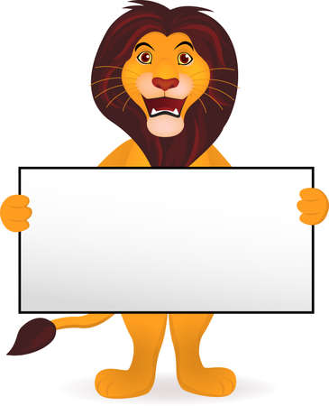 Lion cartoon and blank sign Stock Vector - 9569144