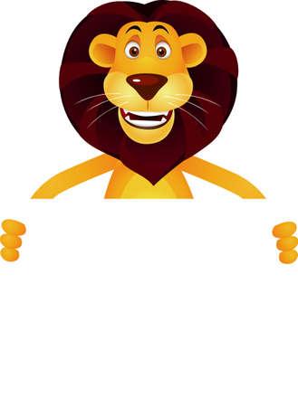 zoologico caricatura: Caricatura de Le�n y signo en blanco Vectores