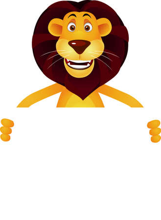 standing lion: Lion cartoon and blank sign