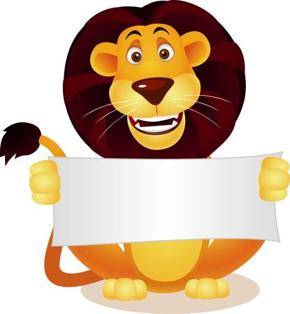 Lion cartoon and blank sign Stock Vector - 9569149