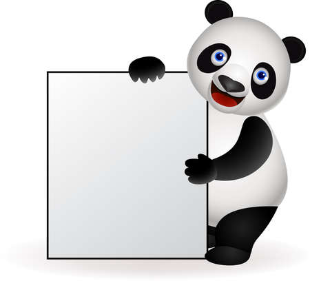 Panda and blank sign Vector