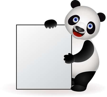 ni�os con pancarta: Panda y signo en blanco