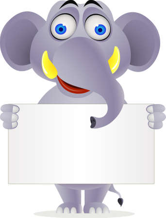 Elephant cartoon and blank sign Stock Vector - 9650348