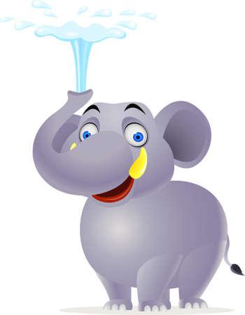 herbivore: Elephant plying water Illustration