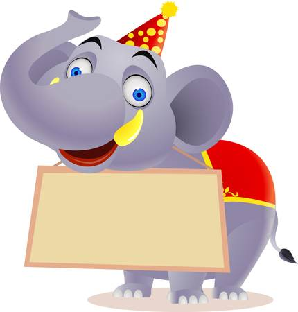 animales de circo: Caricatura de elefante y signo en blanco