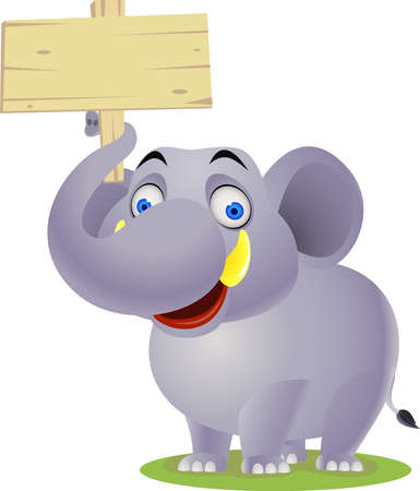 Elephant cartoon and blank sign Vector