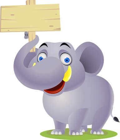 chubby cartoon: Elephant cartoon and blank sign